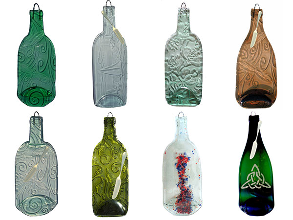 8 glass cheese platters made from upcycled wine bottles