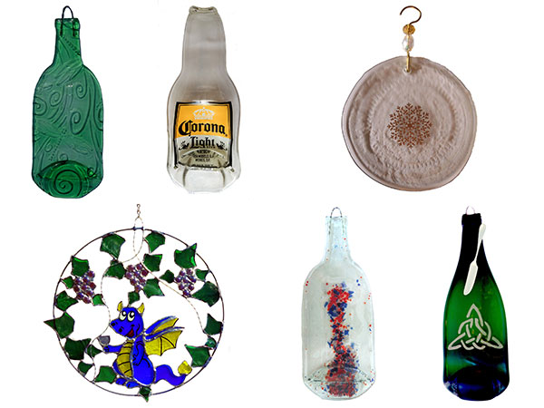 cheese platters, spoon rests, and ornaments are made from upcycled wine bottles