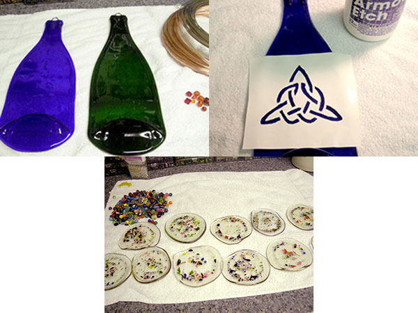 bottles are finished by applying designs