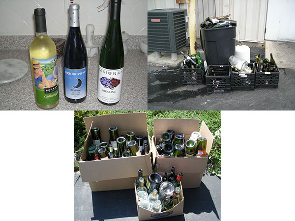 wine bottles before consumption, then the empty bottles ready for recycling