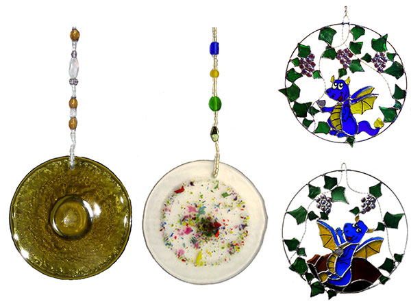 4 sun catchers made from the bottoms of upcycled wine bottles